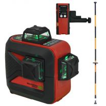 Futech Multicross 3D Compact Green Kruislijnlaser + Uitschuifbare Steunpaal + Ontvanger