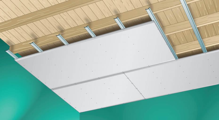 Plafond op veerregels Gyproc