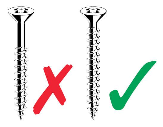 Gyproc Habito® wand foute en goede schroef voor bevestiging voorwerpen
